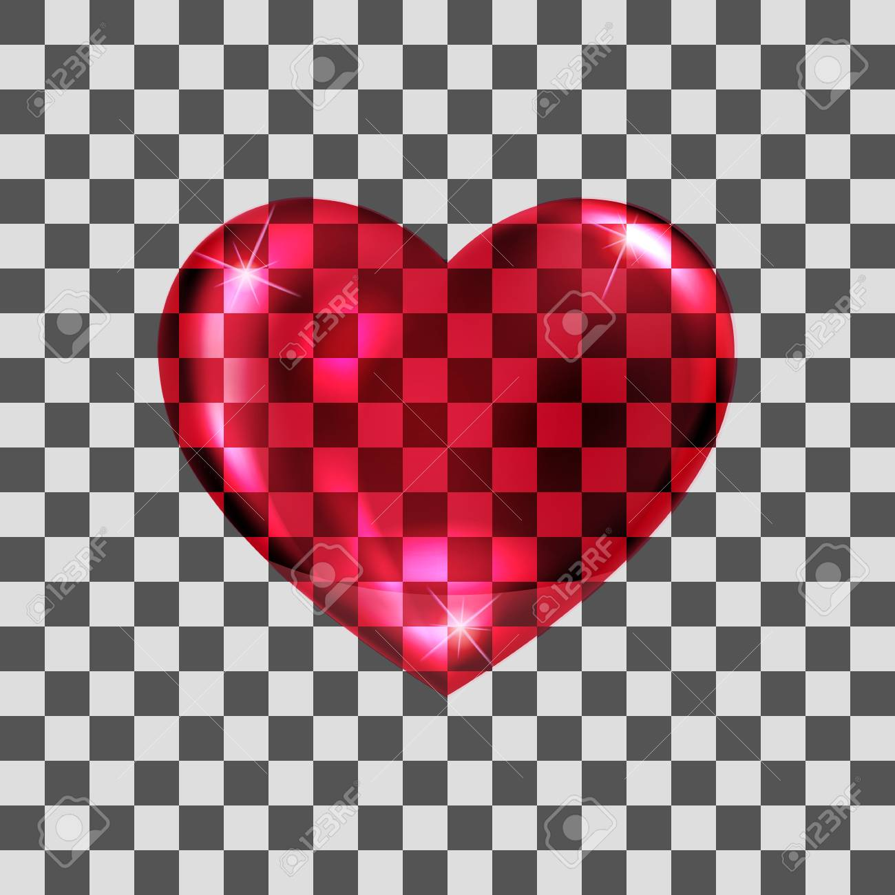 Vector Illustration. Glass Transparent Red Heart. Design For ...