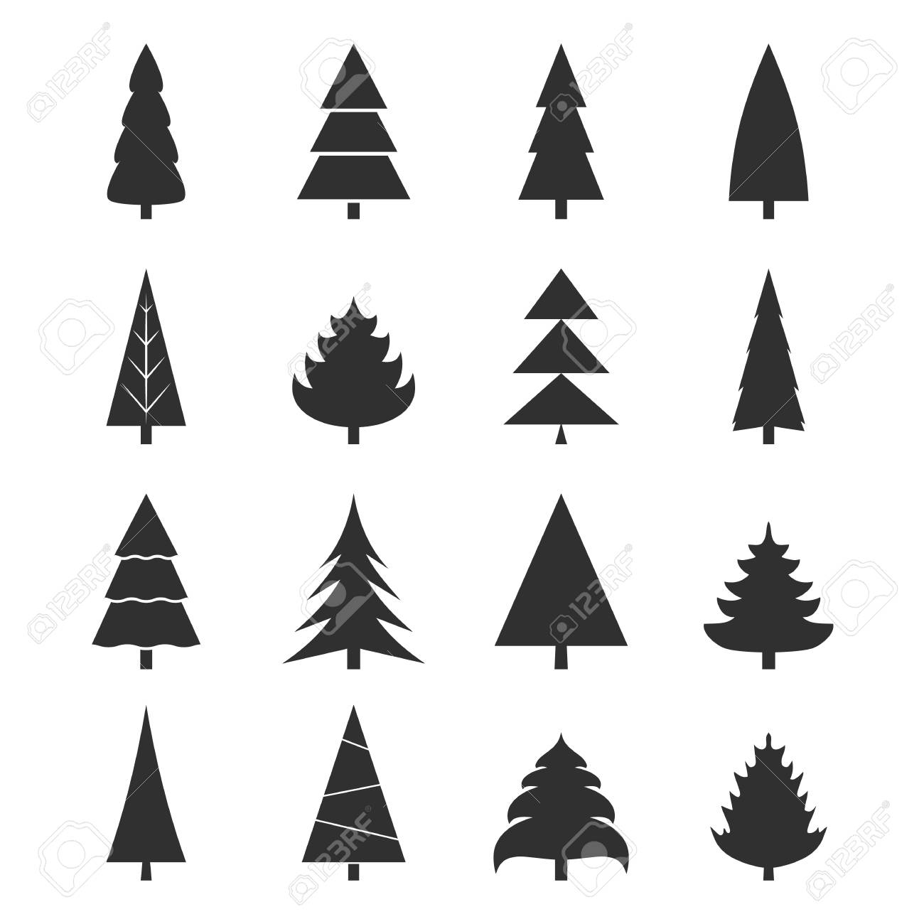 Set Of Black Christmas Tree Icons On White Background