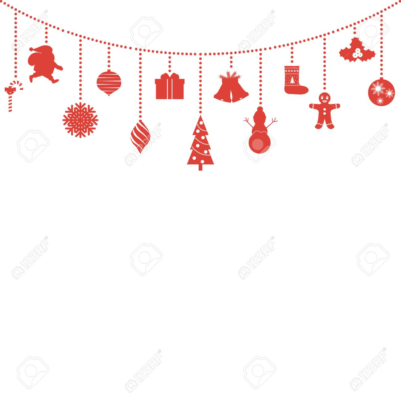 Hanging Christmas Ornaments Silhouette.Christmas And New Year S Symbols Hanging From Above Silhouettes