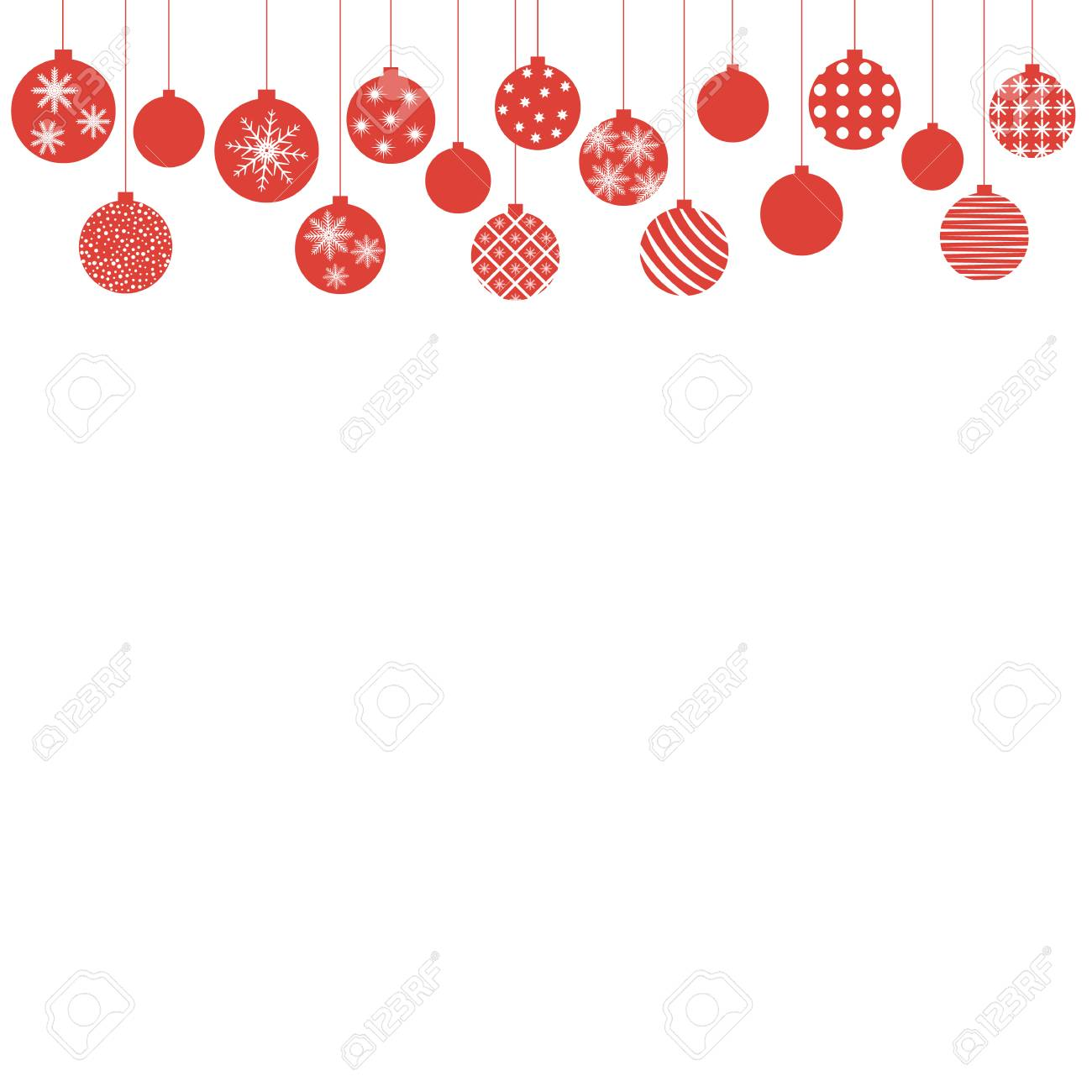 Christmas Red Balls Hanging From Above Design For A Holiday Invitation Card Poster