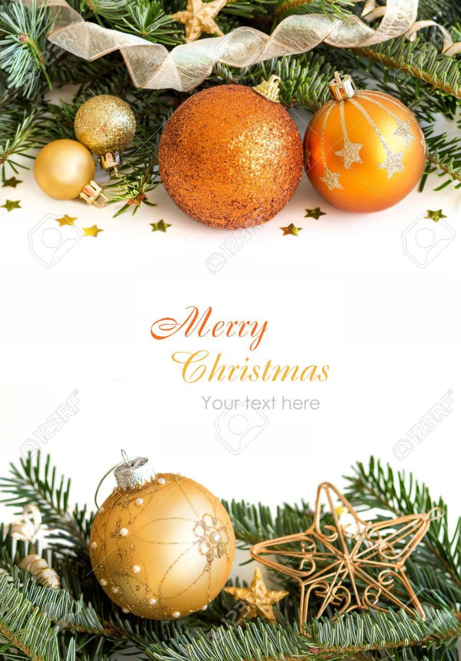 Golden Christmas ornaments border su sfondo bianco Archivio Fotografico - 34748329