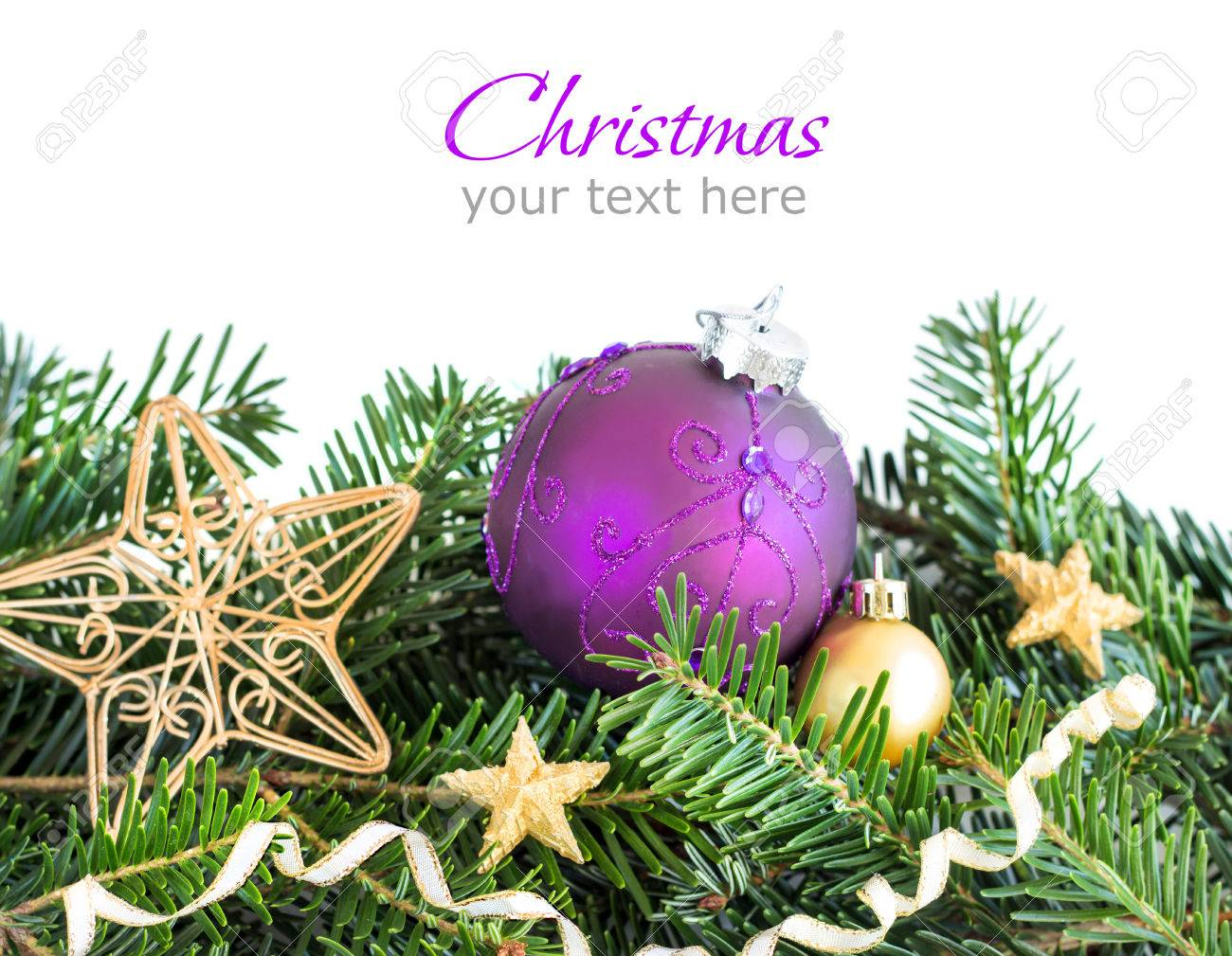Golden And Purple Christmas Ornaments Border On White Background