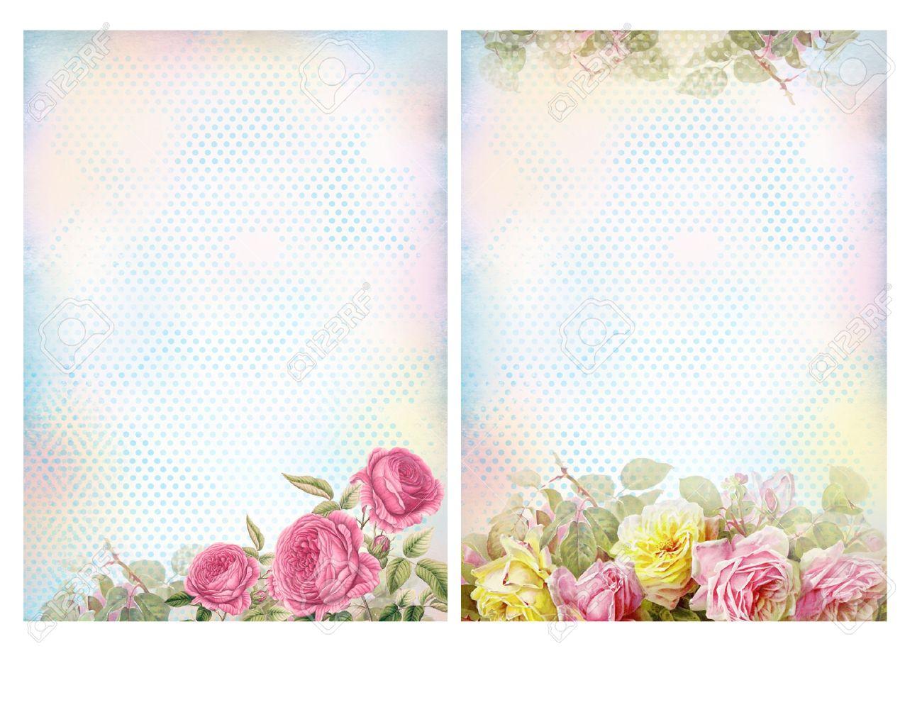 Sfondi shabby chic con le rose. Pastello floreale sfondo vintage. Archivio Fotografico - 35811703