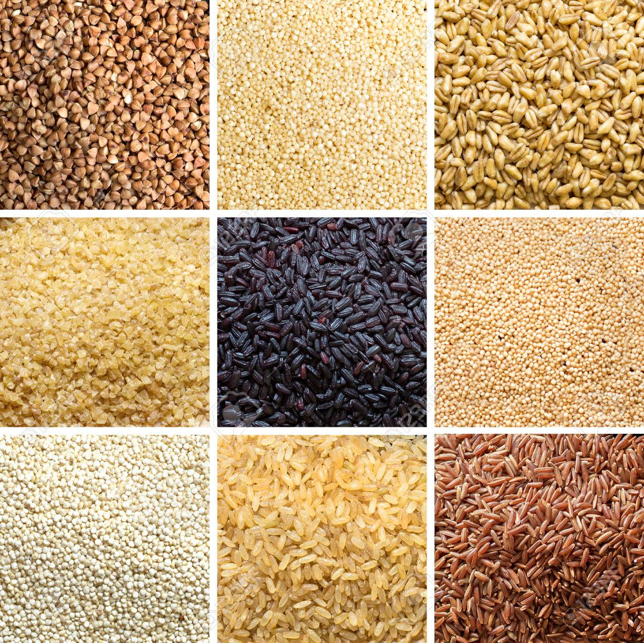 Collage of 9 cereals: buckwheat, millet, spelt, bulgur, black rice, amaranth, quinoa, brown rice, red rice Archivio Fotografico - 35811707
