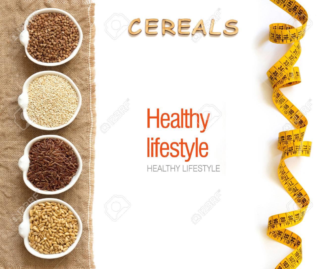 Cereali in frontiera ciotole con parole cereali isolati in bianco Archivio Fotografico - 36961467