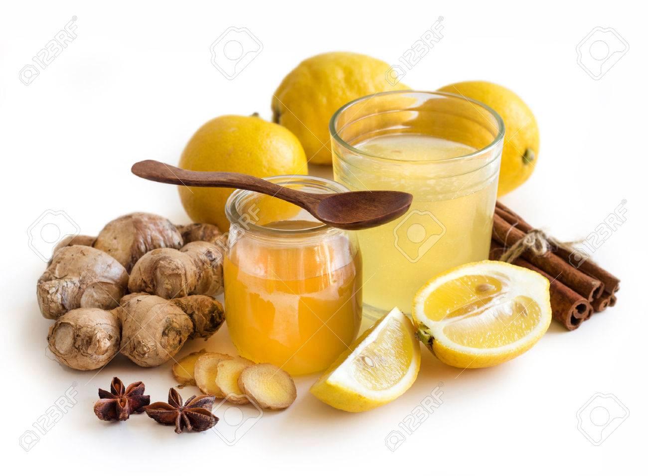 Miele, limone e zenzero tonico e ingridients vicino Archivio Fotografico - 38331618
