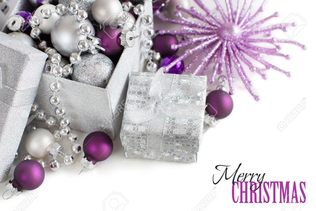 Silver And Purple Christmas Ornaments Border On White Background Stock  Photo  50561397