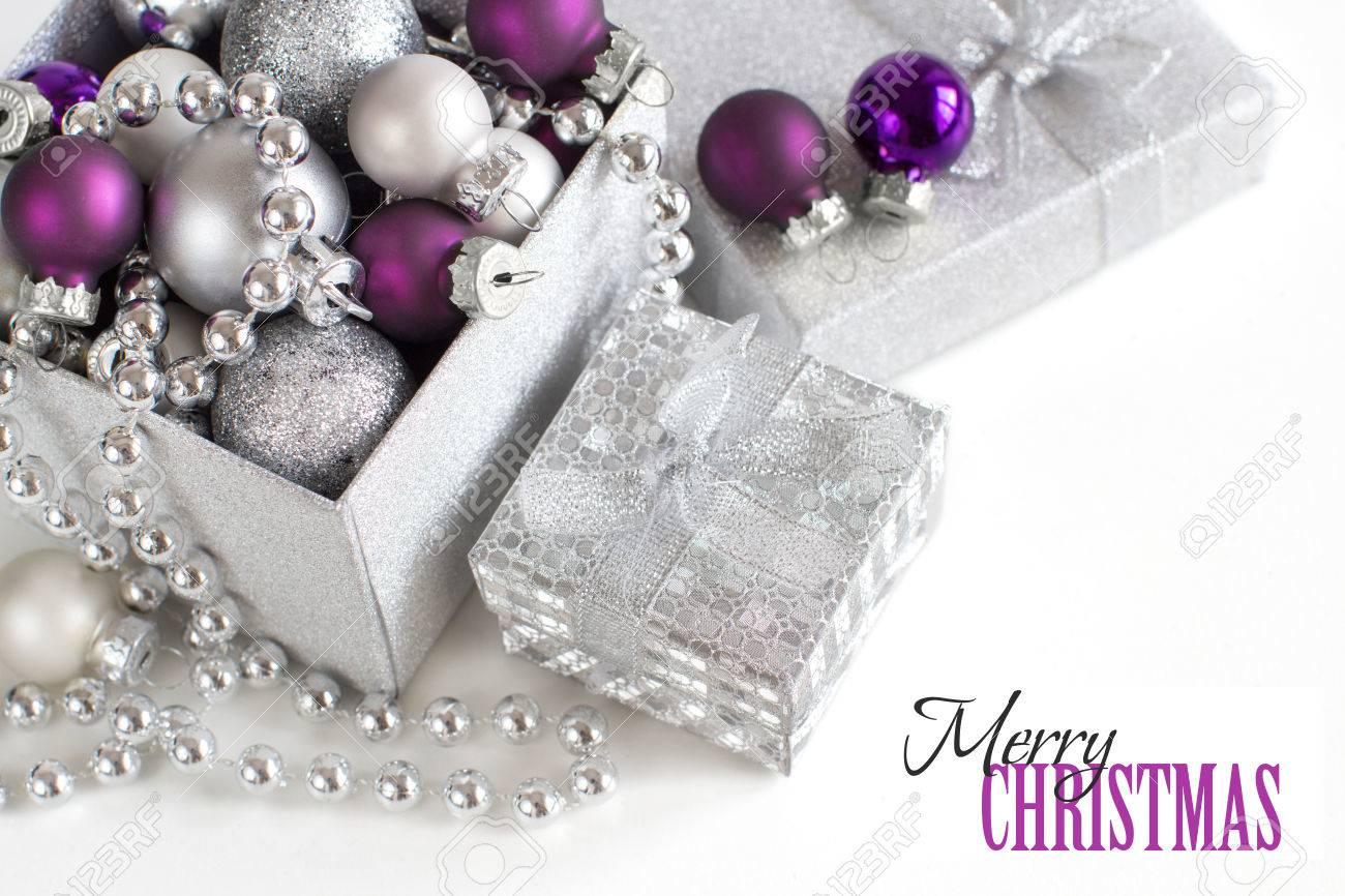 Silver And Purple Christmas Ornaments Border On White Background Stock  Photo  53106370