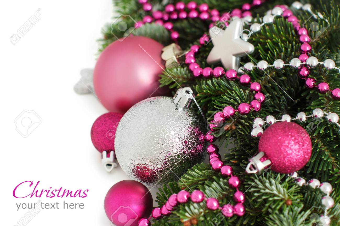 Pink Christmas Ornaments.Silver And Pink Christmas Ornaments Border On White Background
