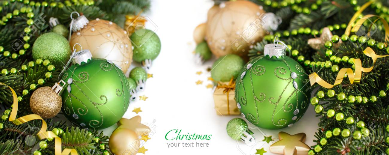 Green And Golden Christmas Ornaments Border On White Background
