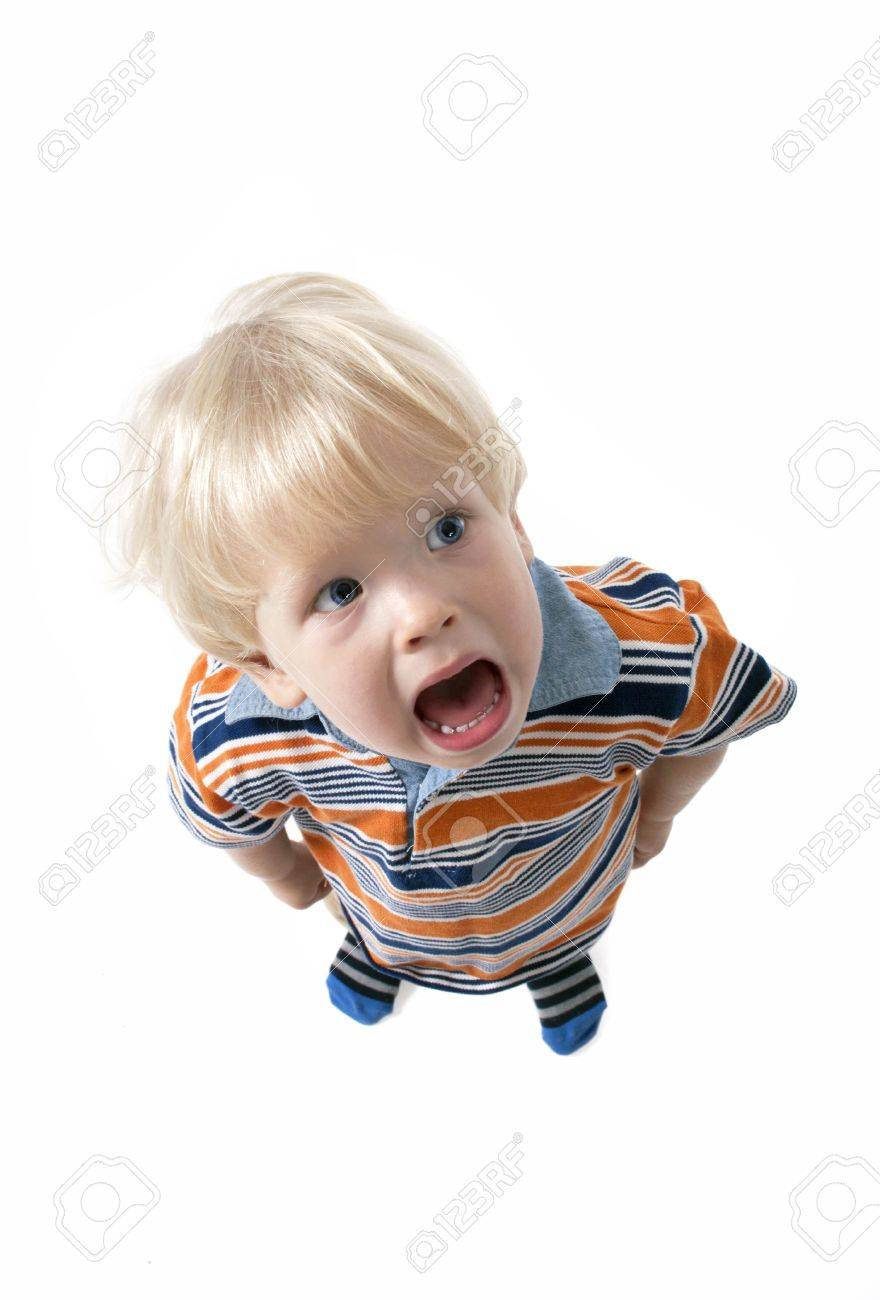 adorable blonde hair baby boy screaming and crying stock photo