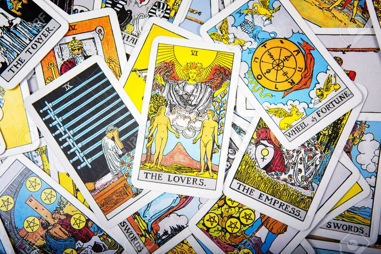 Tarot cards mystical old background  Senior card lovers