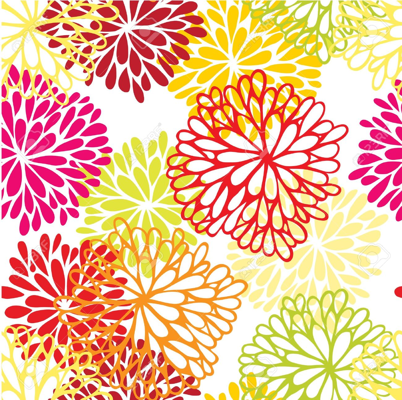 Pink floral seamless vector background floral hrysanthemum seamless - Floral Seamless Ornament With Chrysanthemum Stock Vector 11651666