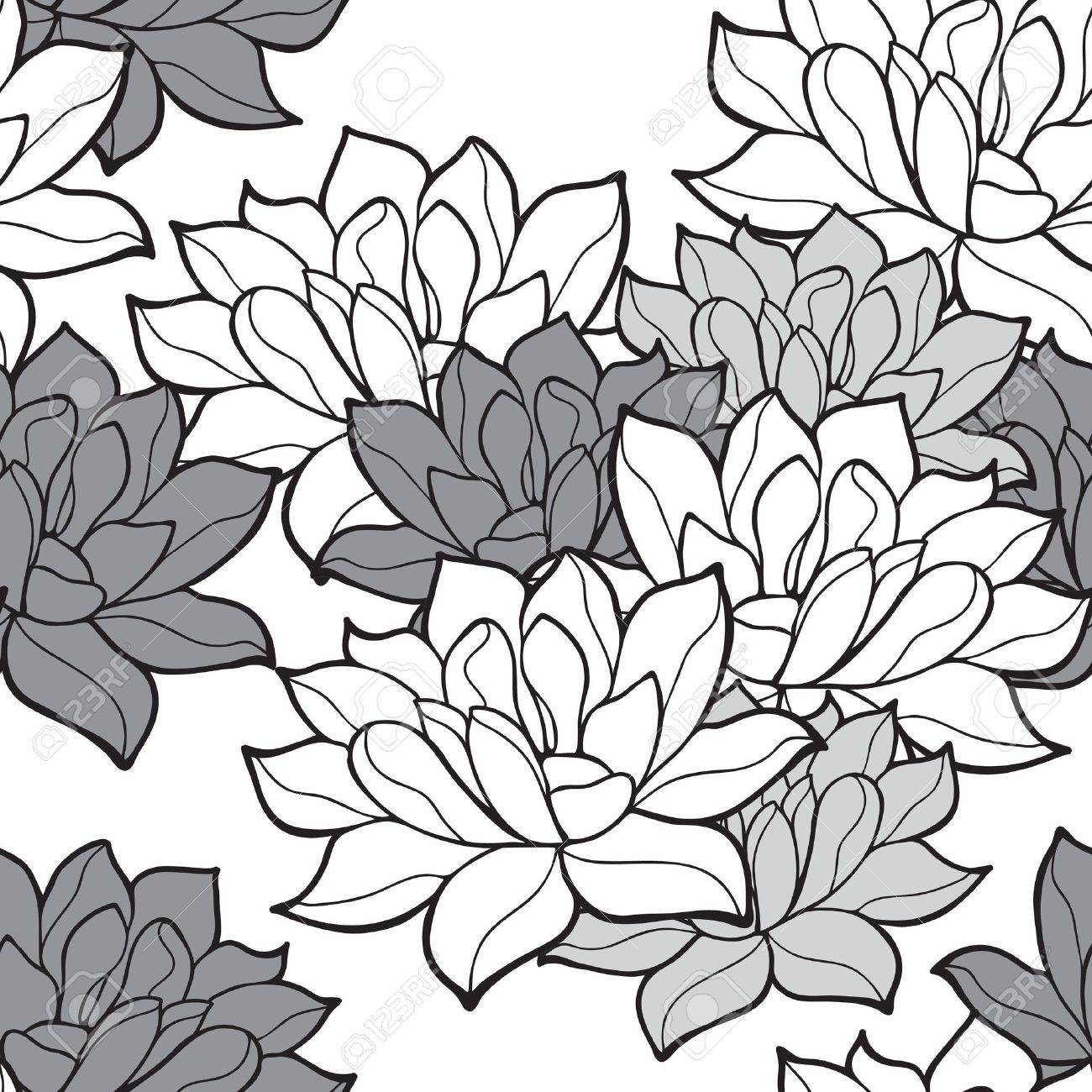 Stylish lotus flowers seamless background Stock Vector - 20989249