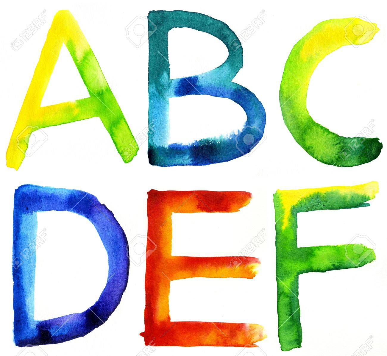 colored watercolor hand painted letters a b c d e f