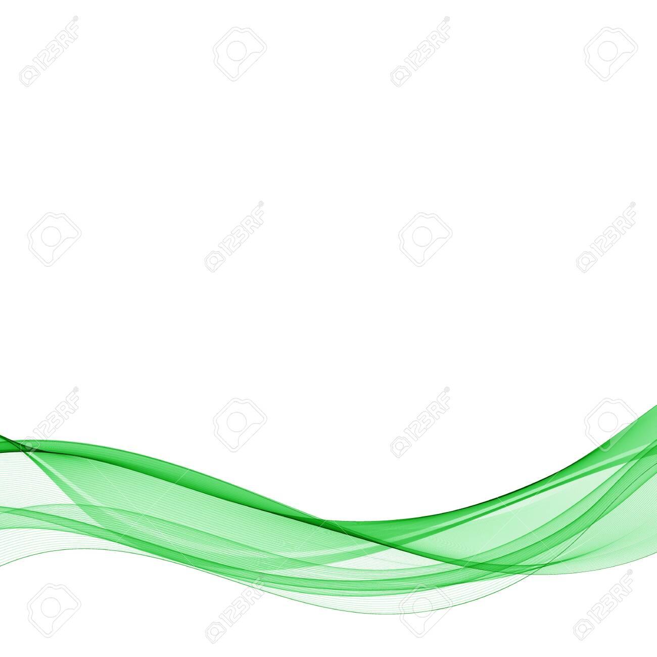 Abstract vector background, green waved lines for brochure, website, flyer design. Transparent smooth wave. - 152297601
