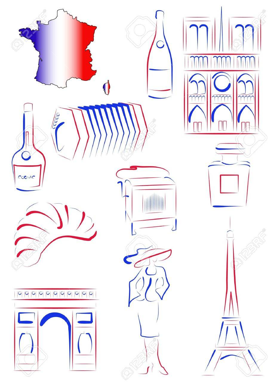 Set Of Drawn Stylized Sights And Symbols Of France Royalty Free