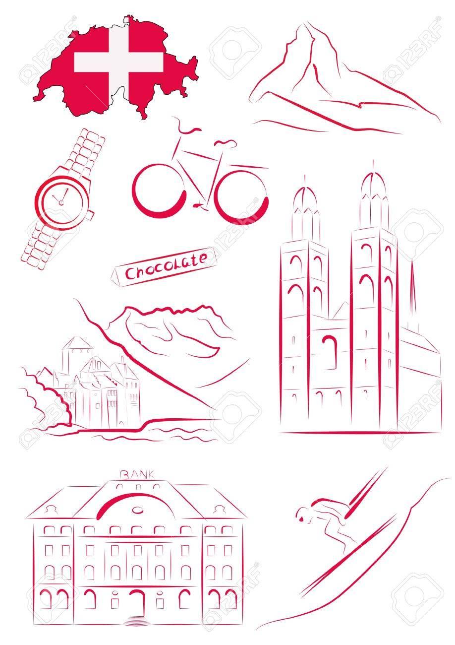 Set Of Drawn Stylized Sights And Symbols Of Switzerland Royalty Free