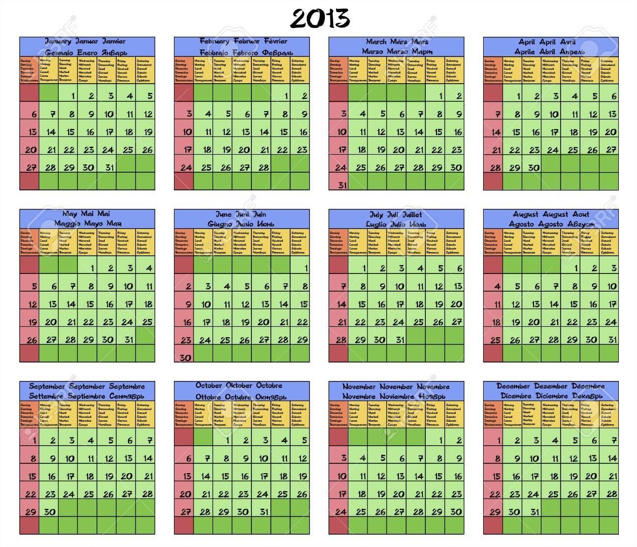 Calendario Para El Ano 2013 Meses Y Dias De La Semana Nombrados En