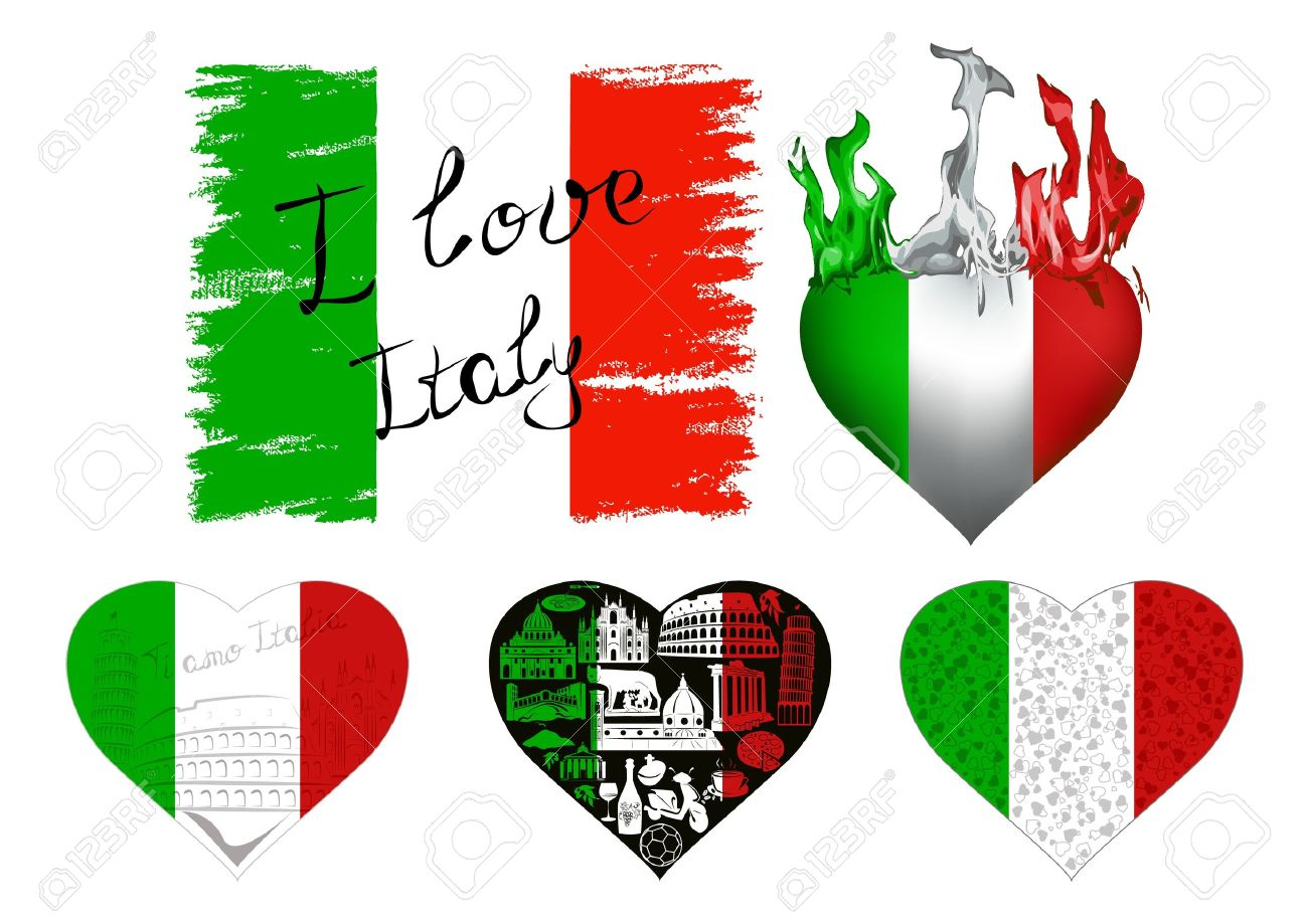 Set Of Flags And Hearts In Italian Tricolor With Symbols Of Italy
