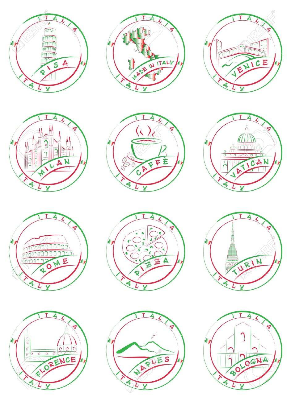 Seals and stamps of Italian cities with their main sights. Stock Vector - 16662345