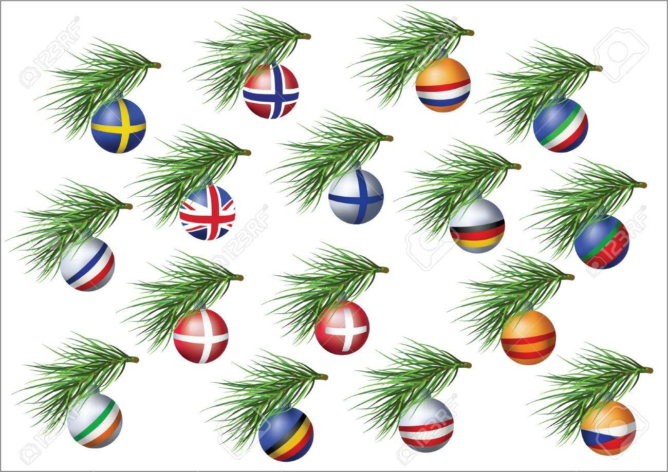 european countries flags sheres on branches of christmas tree stock vector 16662387 - European Christmas Tree