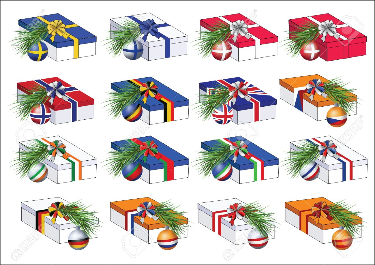 Set of gift boxes wrapped by ribbons in colors of some european countries flags. With christmas tree branches with spheres of the same countries flags on them. Stock Vector - 16662394