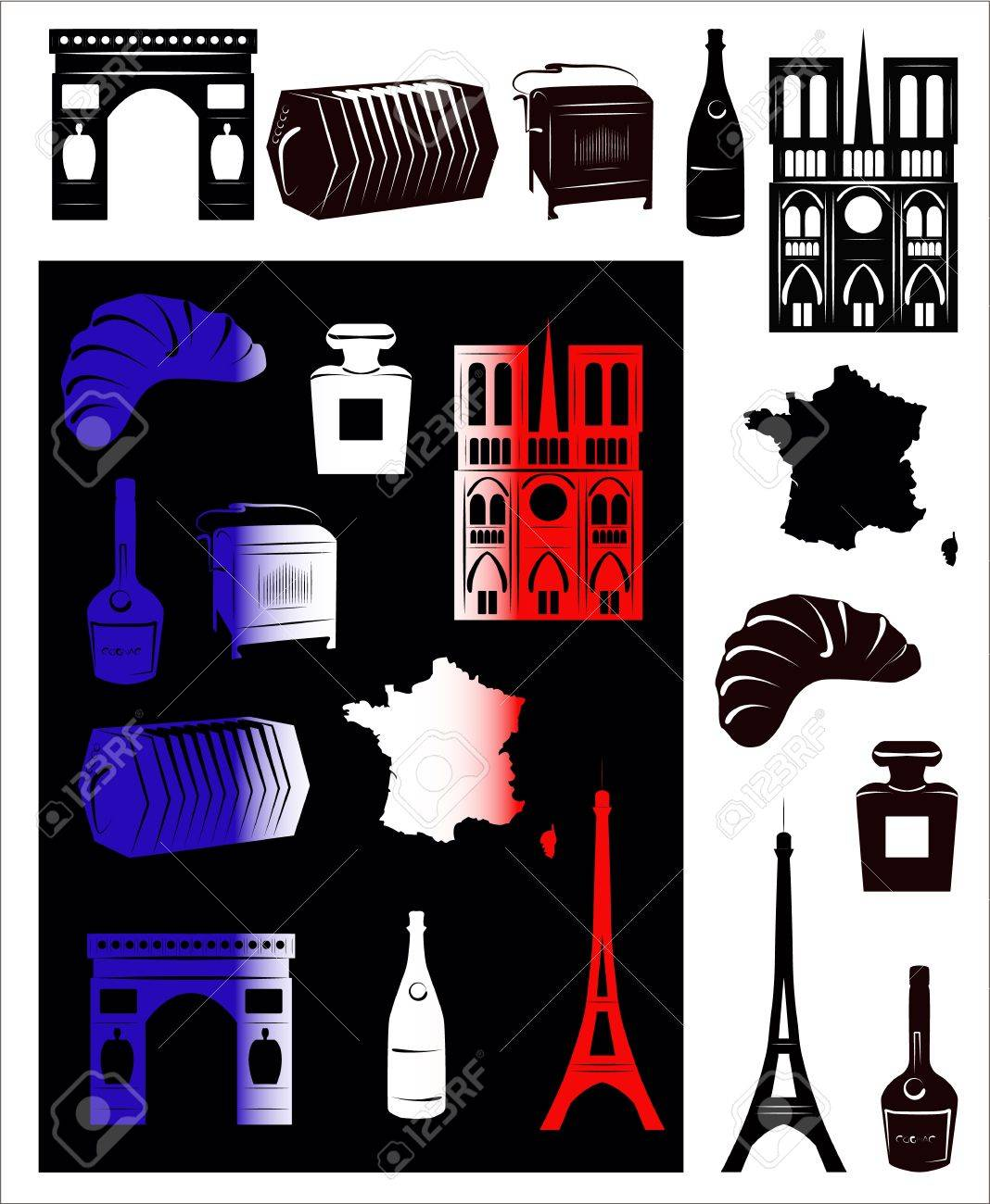 Set of vector drawn stylized silhouettes of sights and symbols set of vector drawn stylized silhouettes of sights and symbols of france and picture with hallmarks biocorpaavc