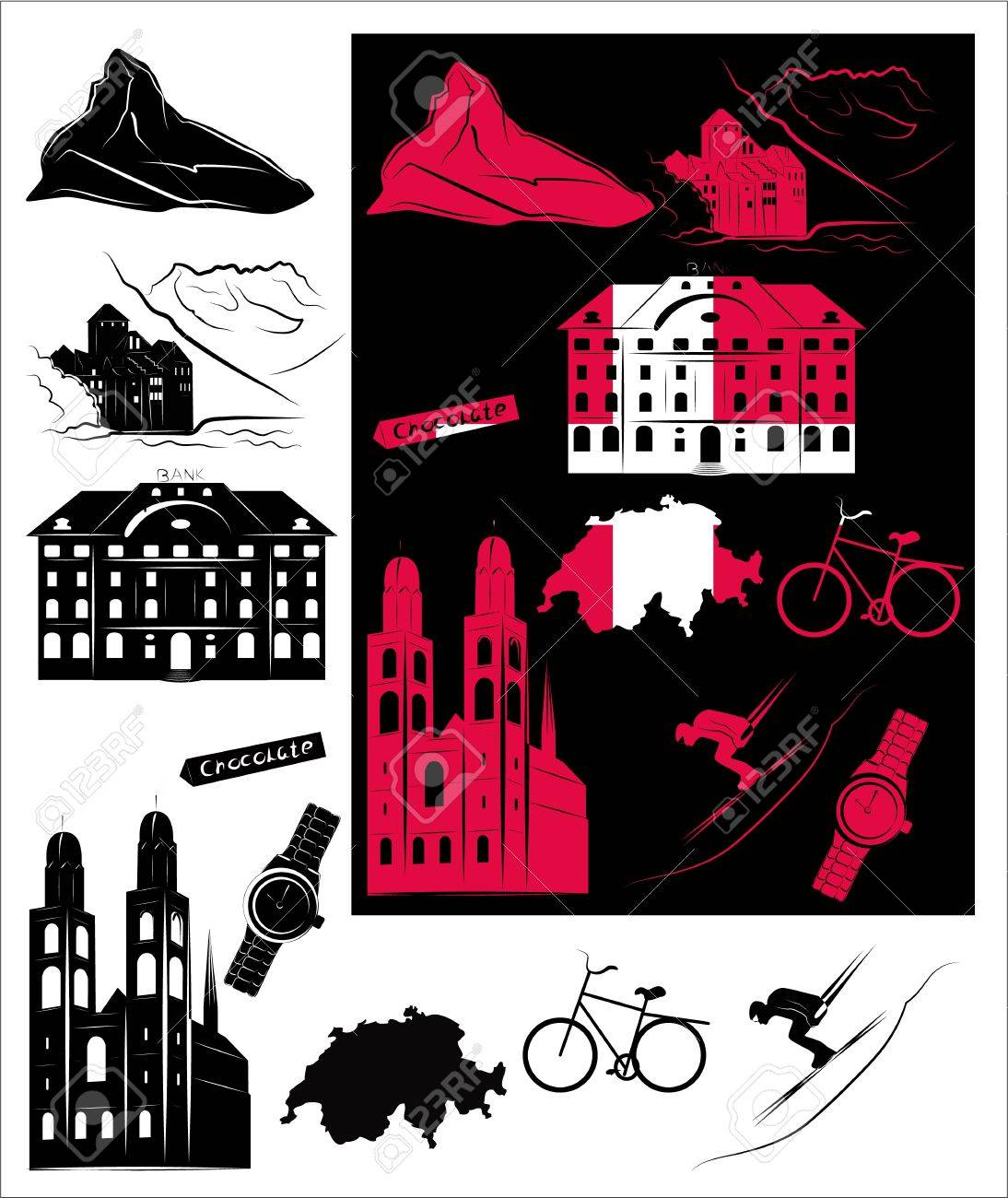 Set Of Vector Drawn Stylized Silhouettes Of Sights And Symbols