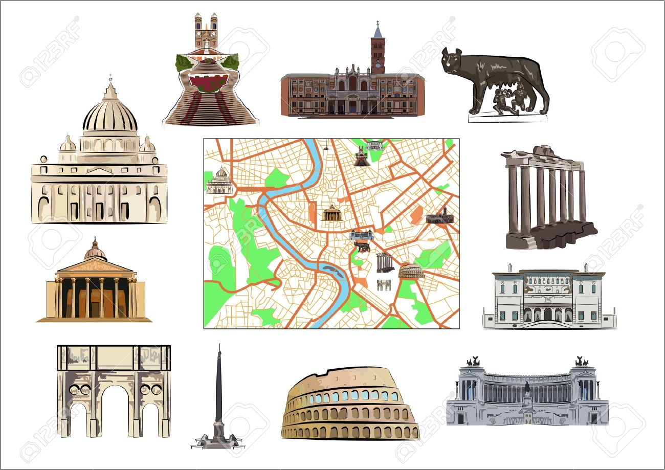 Map of Rome with hallmarks as marked on it as separated. Stock Vector - 16662400