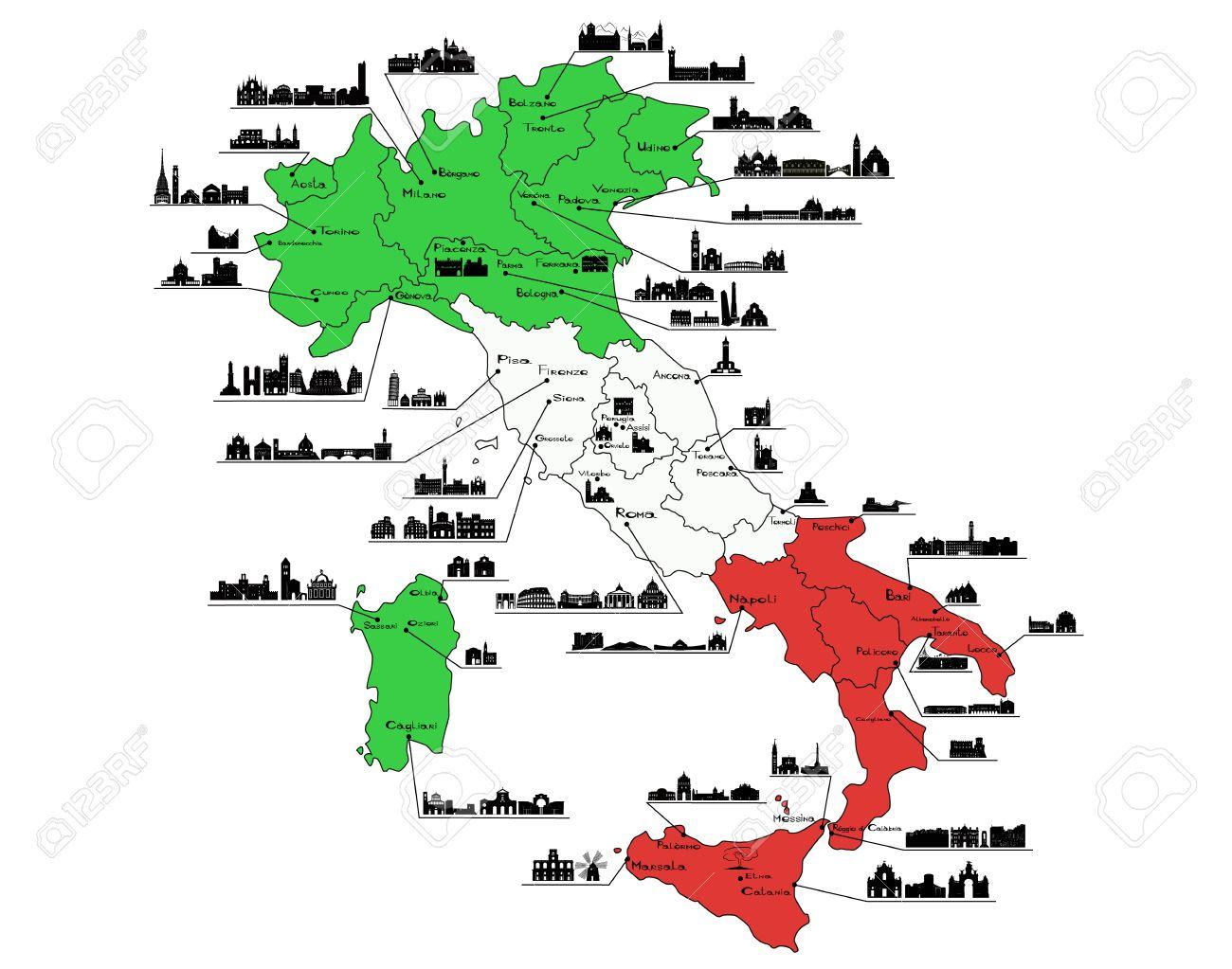 Karte Von Italien Mit Silhouetten Von Italienischen Stadten Turin