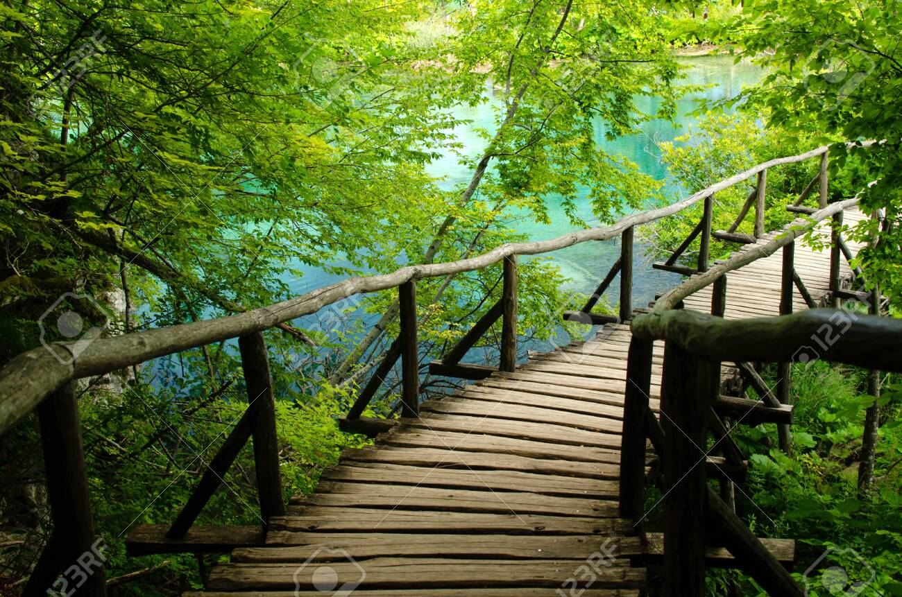 Wooden Bridge leading to the lake in Plitvice National Park in Croatia - 154174390