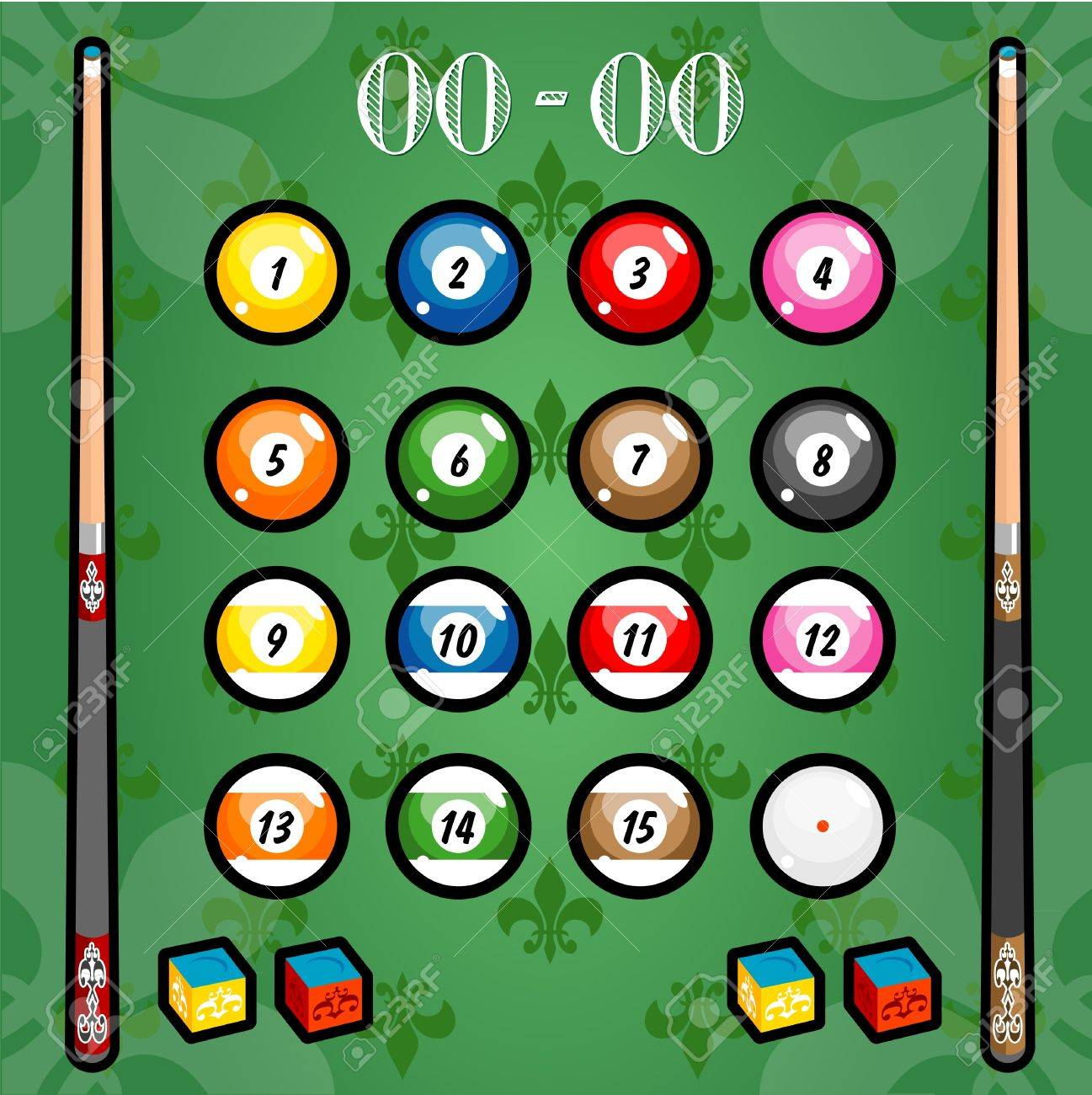 A variety of billiards on the wallpaper Stock Vector - 19490738