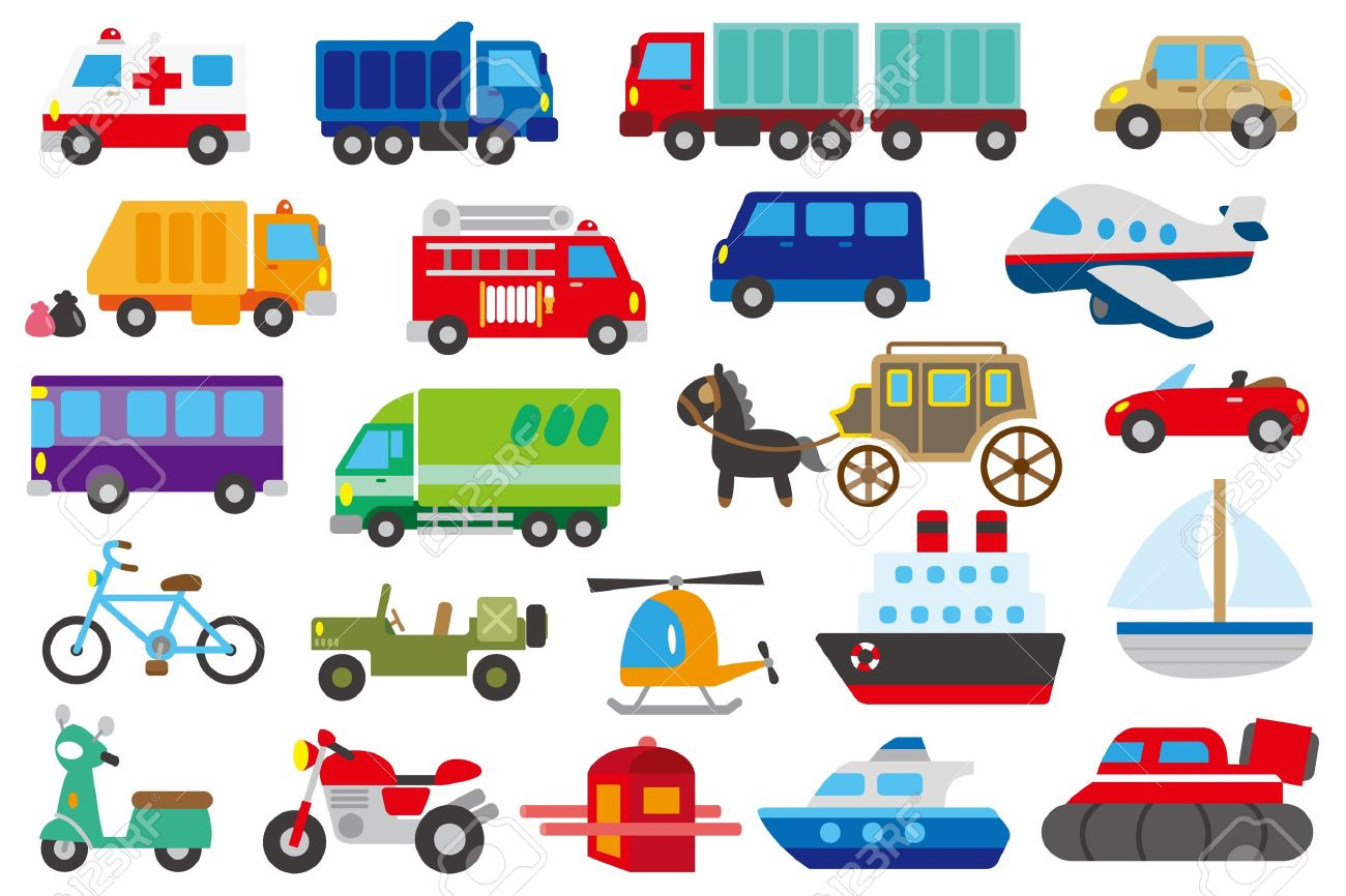 cartoon car, truck, submarine, ship, plane - 21212868