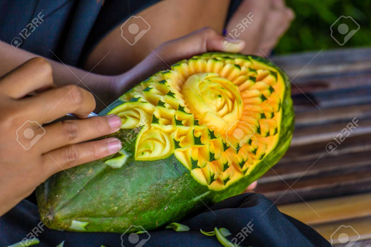 Fruit carving art of thailand for punctilious food stock photo