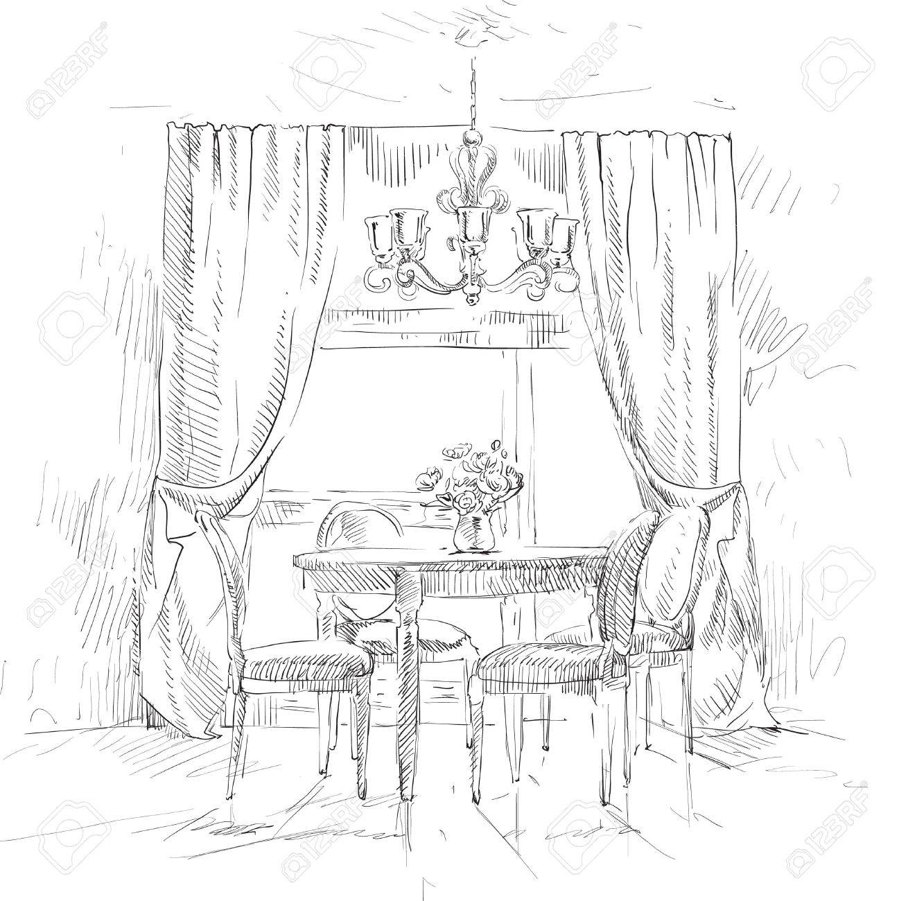 Hand drawing details of the interior Stock Vector - 18320236