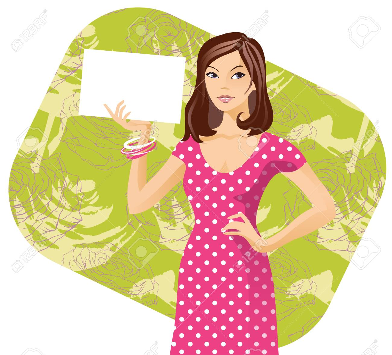 A girl with paper in her hand Stock Vector - 18335650