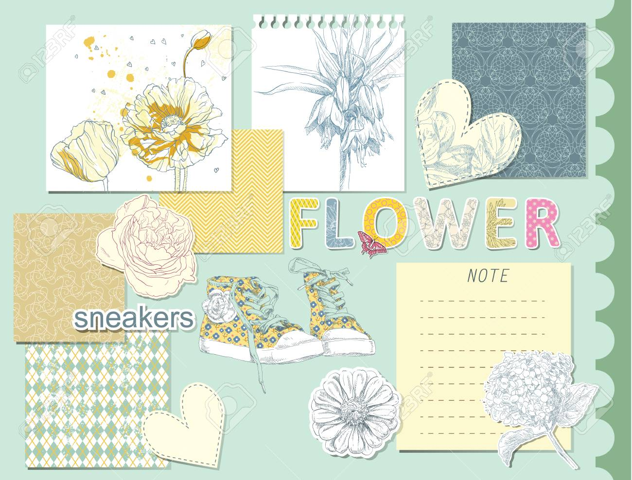 Beauty Set Of Scrapbook Design Hand Drawing Elements Royalty Free