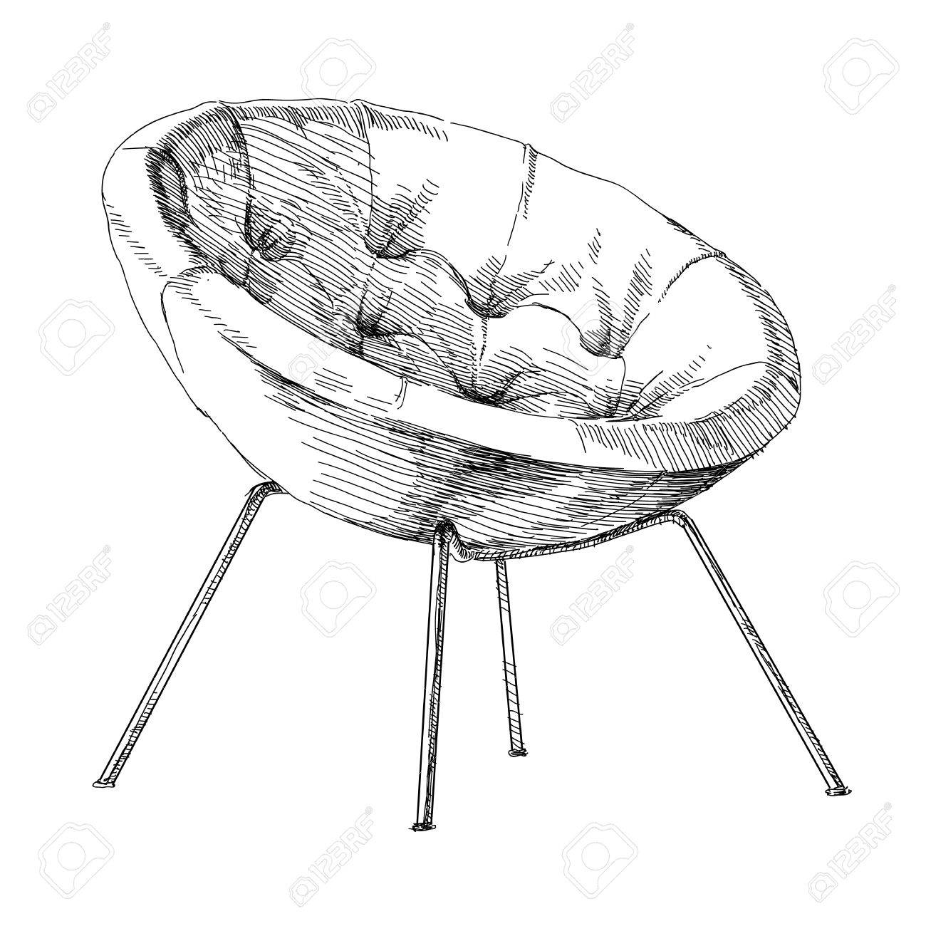 Contemporary modern interior hand drawing vector illustration stock vector 50910212