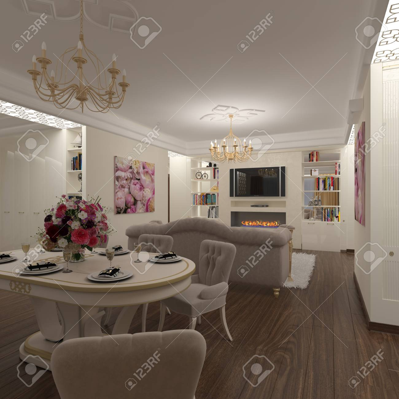 Render Interior Design Of The Living Room Dining Room In The Stock Photo Picture And Royalty Free Image Image 94999026