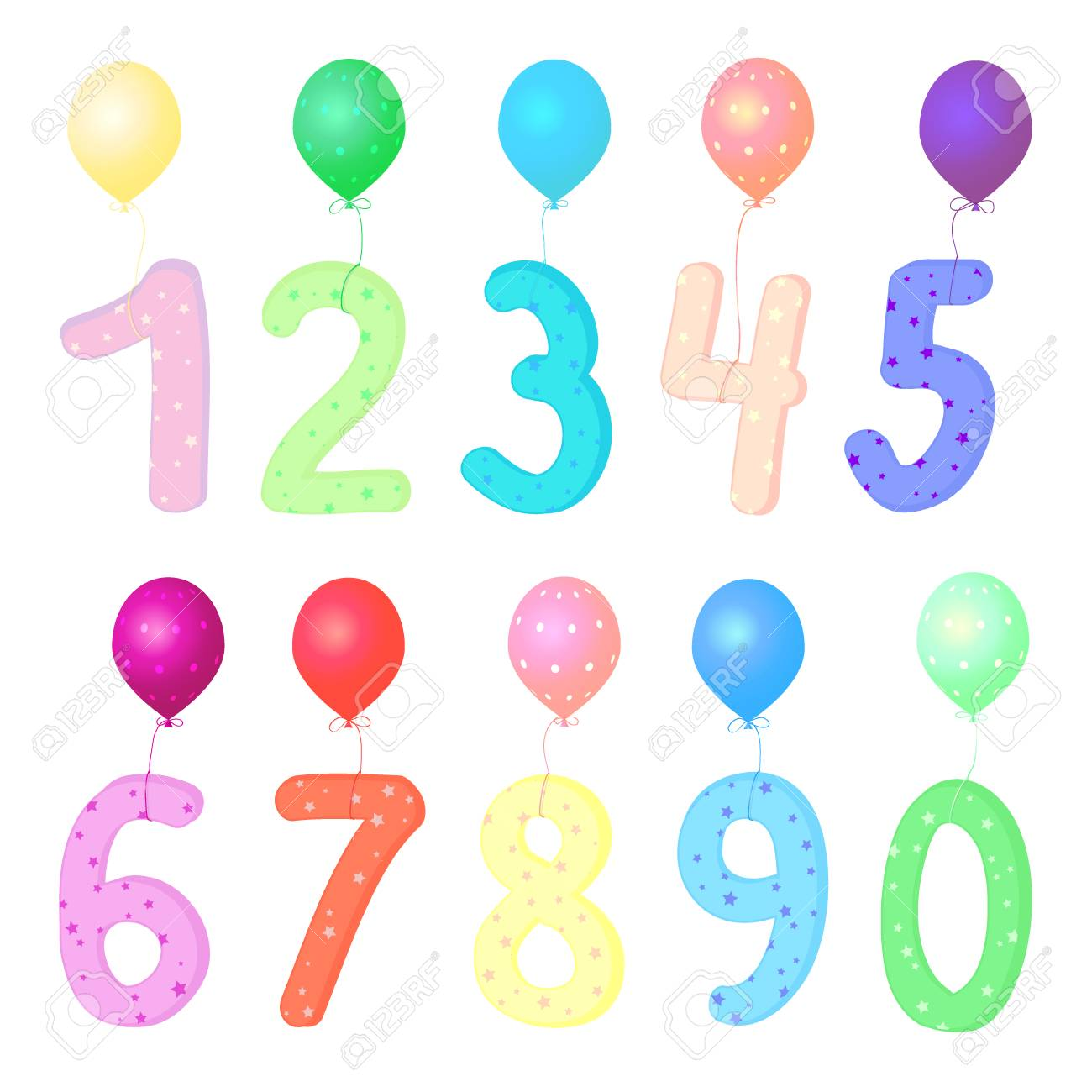 Vector Colorful Number 1 2 3 4 5 6 7 8 9 0 With Balloons