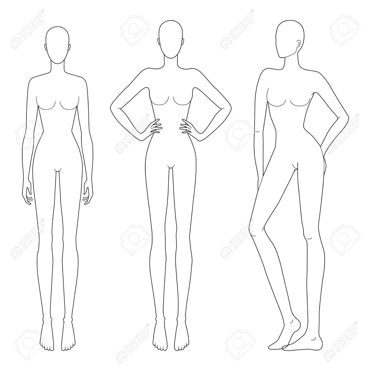 Fashion Template Of Women In Different Standing Poses 9 Head Royalty Free Cliparts Vectors And Stock Illustration Image 139797707