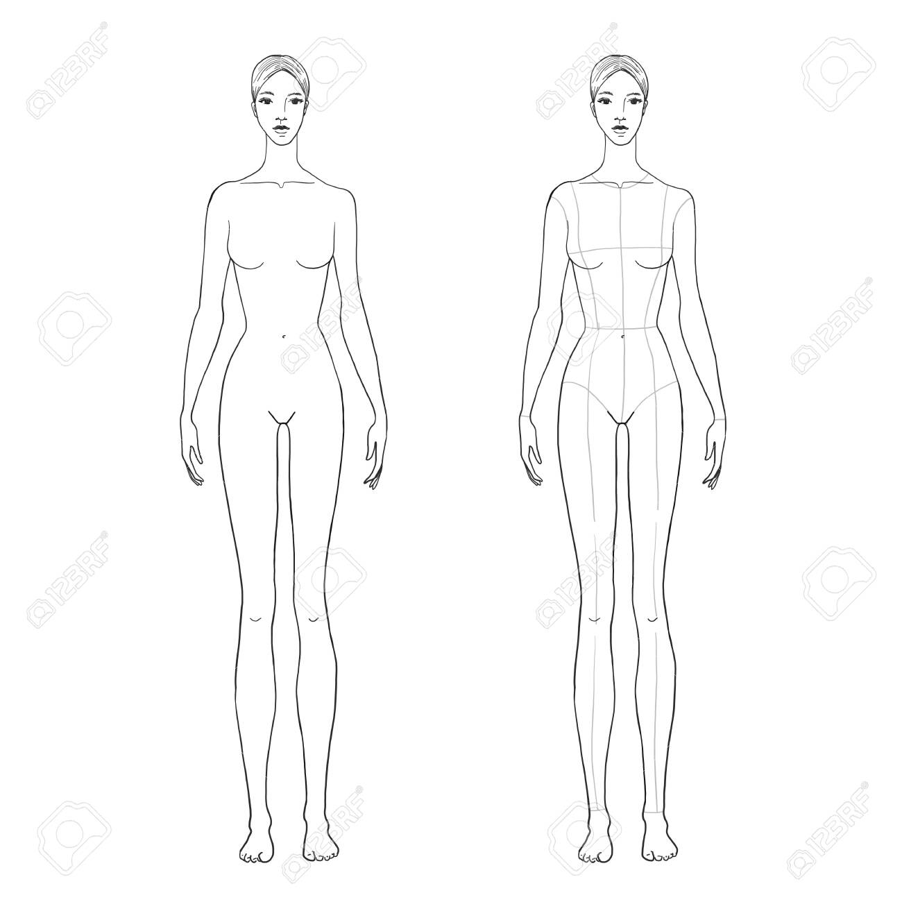Womans Figure Sketch For Technical Drawing With Main Lines Vector Royalty Free Cliparts Vectors And Stock Illustration Image 139797787