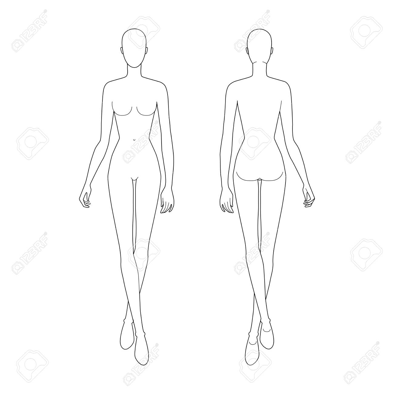 Fashion Template Of Walking Women 9 Head Size For Technical Royalty Free Cliparts Vectors And Stock Illustration Image 142423462