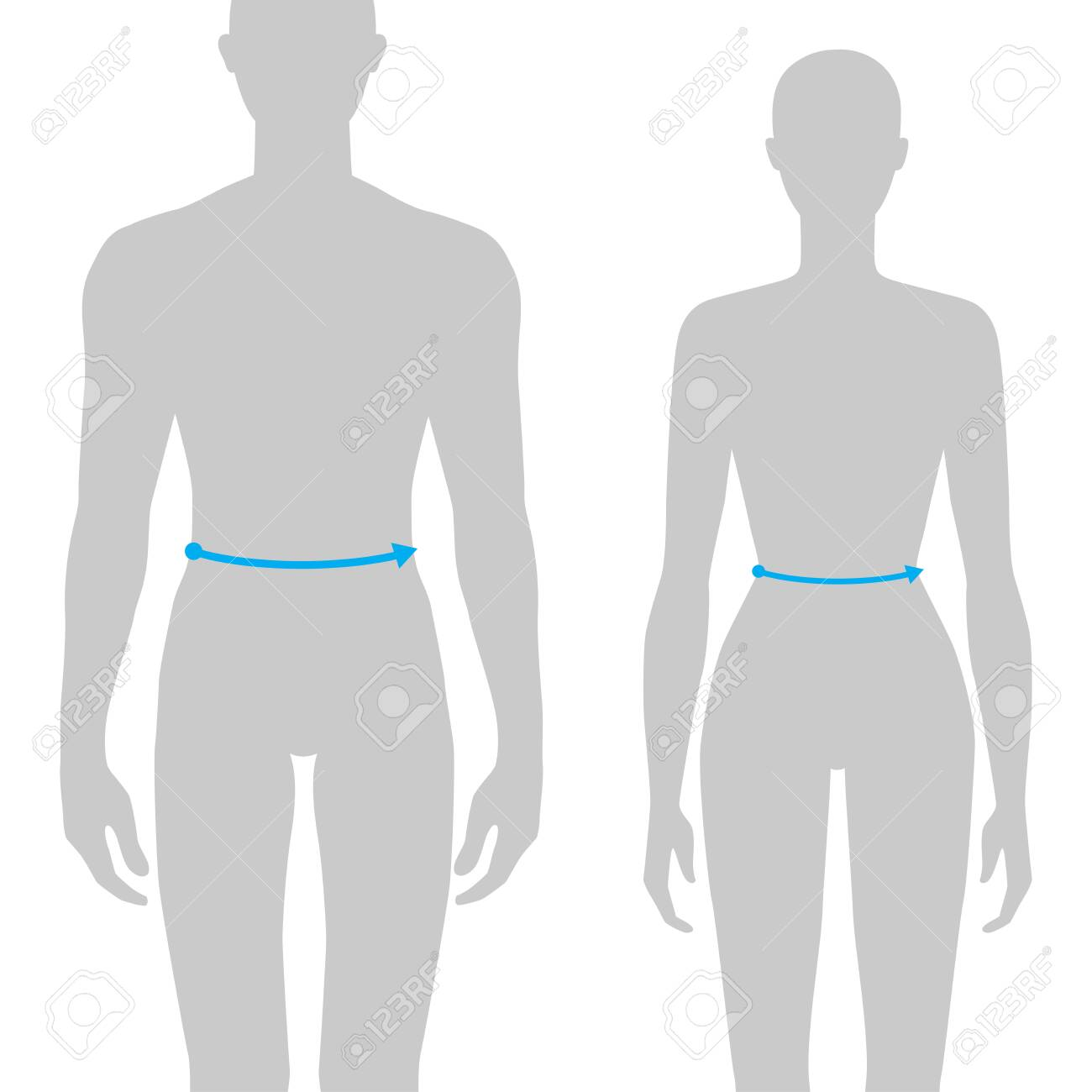 Women and men to do waist measurement fashion Illustration for size chart. 7.5 head size girl and boy for site or online shop. Human body infographic template for clothes. - 142423536