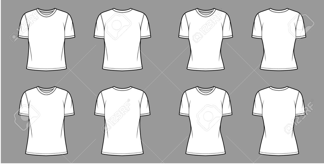 T-shirt technical fashion illustration set with crew neck, fitted and oversized long and regular body, short sleeves, flat. Apparel template front and back white color. Women men unisex garment mockup - 150606235