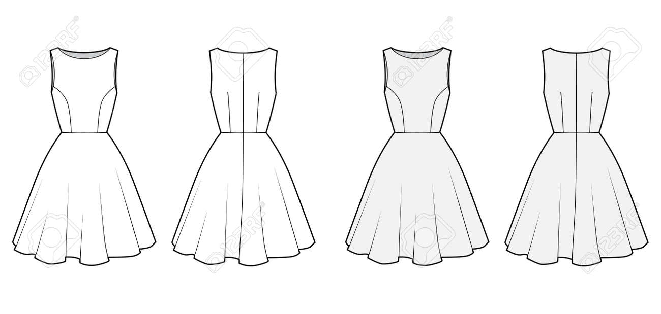 Dress technical fashion illustration with fitted body, boat neck, sleeveless, semi-circular fullness, knee length. Flat apparel template front, back, white and grey color. Women, men unisex CAD mockup - 152029969
