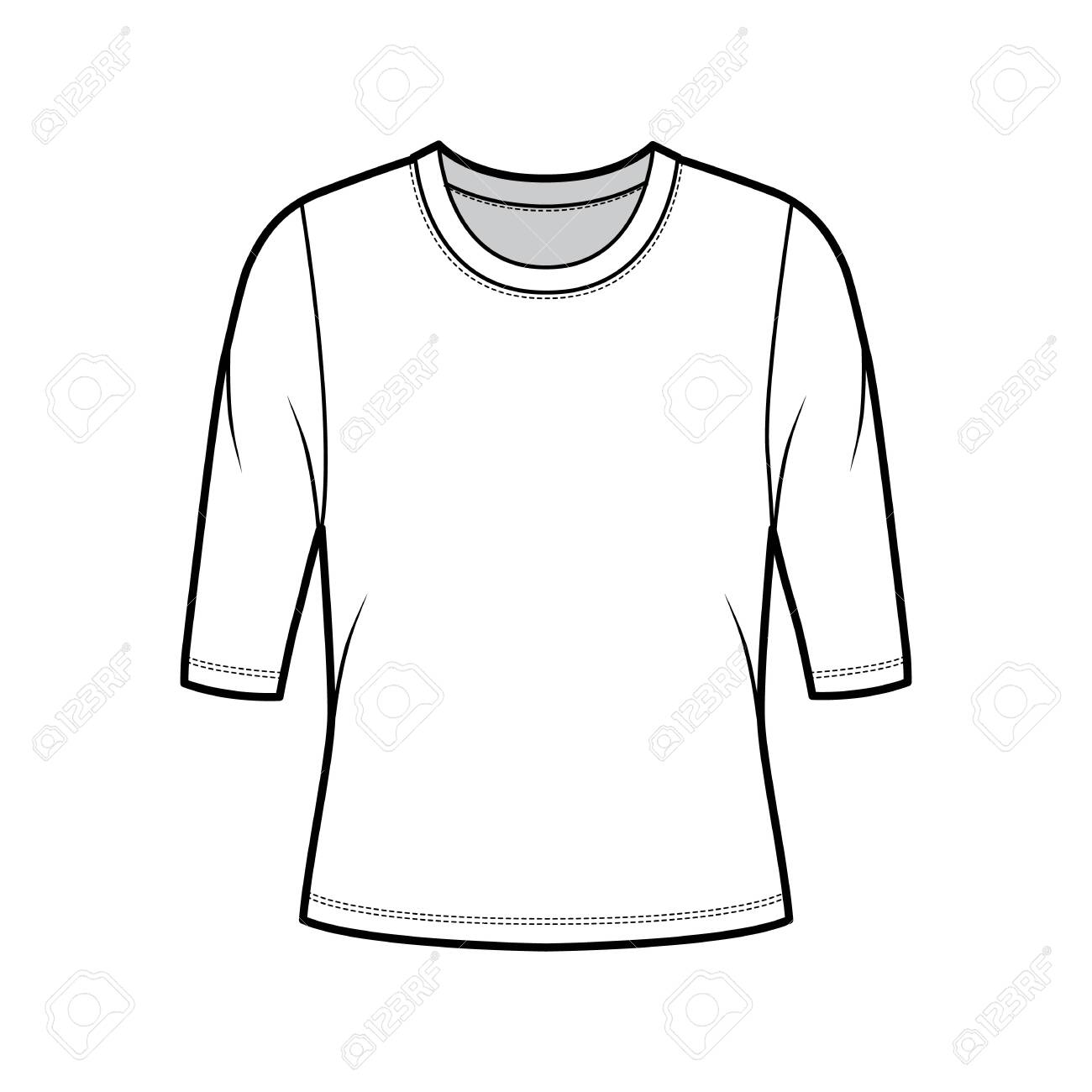 Crew neck jersey sweater technical fashion illustration with elbow sleeves, oversized body. Flat outwear apparel template front, white color. Women, men unisex shirt top CAD mockup - 152856130