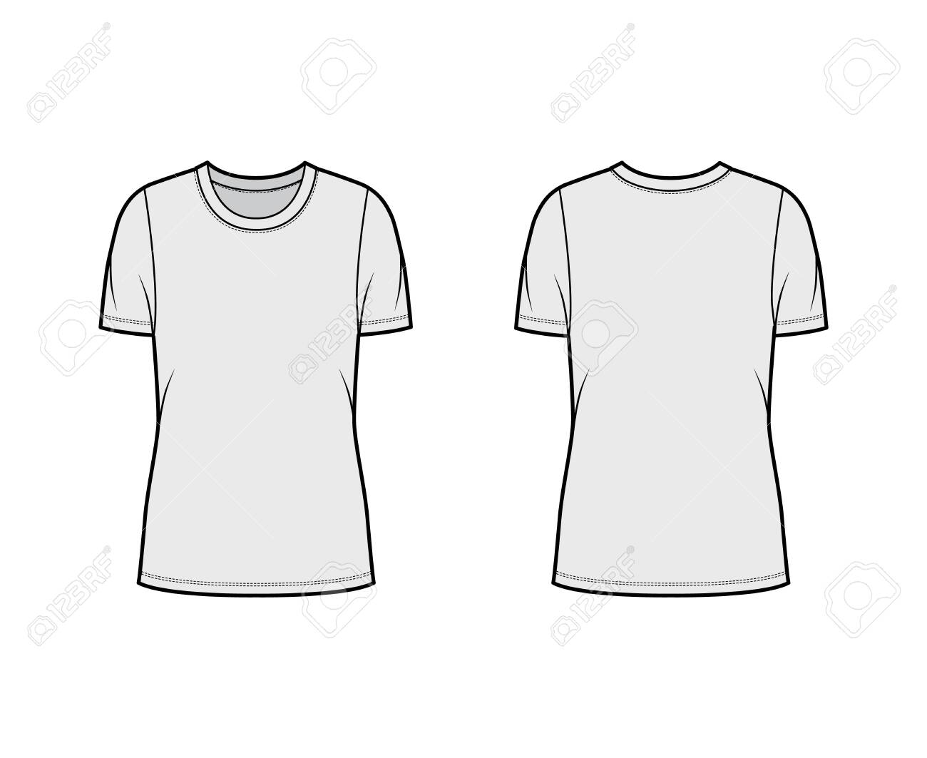 Crew neck jersey t-shirt technical fashion illustration with short sleeves, oversized body, tunic length. Flat sweater apparel template front back grey color. Women men unisex outfit top CAD mockup - 153408250