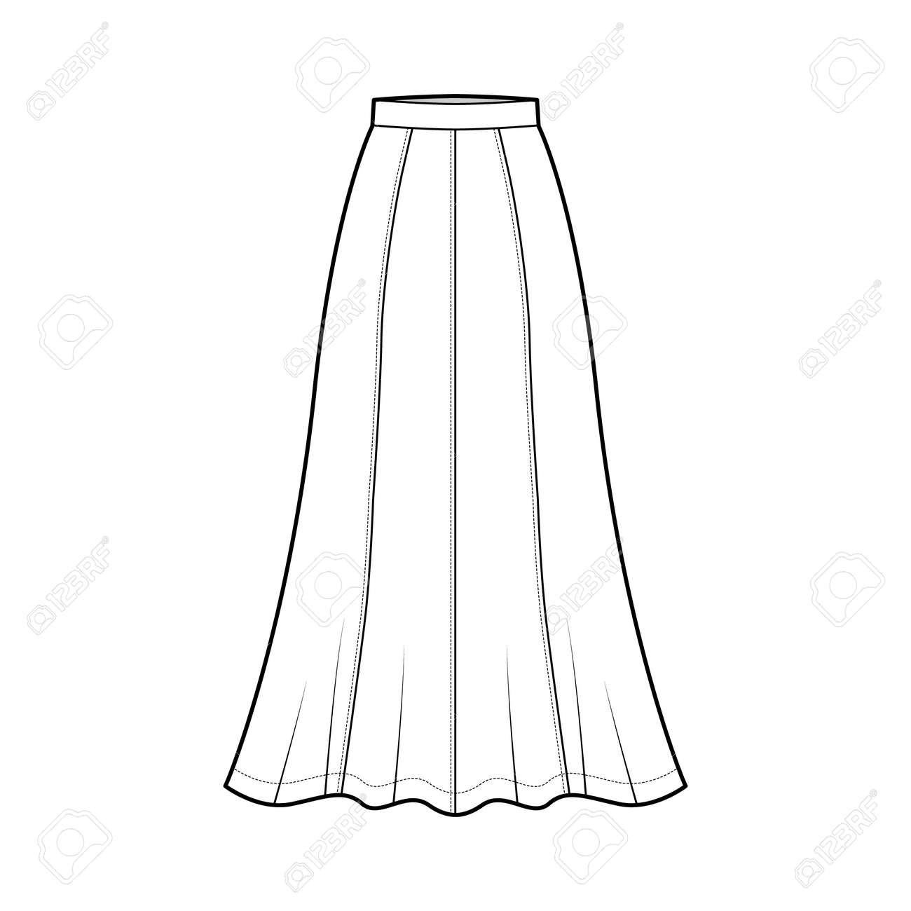 Skirt maxi eight gore technical fashion illustration with ankle lengths silhouette, semi-circular fullness. Flat bottom template front, white color style. Women, men, unisex CAD mockup - 158074715
